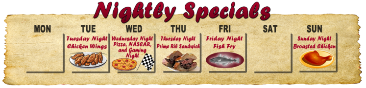 Nightly Specials at The Schellter Bar and Grill